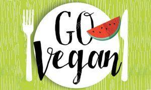 Go vegan illustration design with watermelon fruit meal and locally grown text quote for restaurant menu or food shop. EPS10 vector.