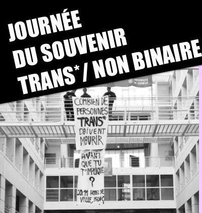 Rassemblement pour la journée du souvenir trans* et non binaire